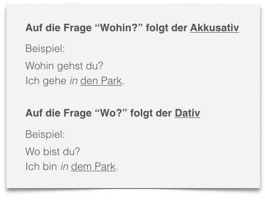 deutsch lernen - Wechselpräpositionen